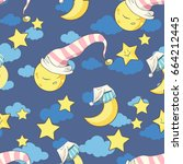 seamless pattern with stars... | Shutterstock .eps vector #664212445