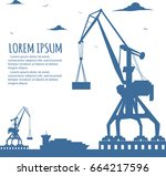 seaport banner with crane... | Shutterstock .eps vector #664217596