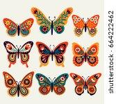 set of illustrations... | Shutterstock .eps vector #664222462