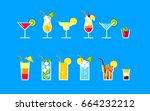 a set of popular cocktails in a ... | Shutterstock .eps vector #664232212