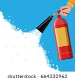 fire extinguisher in hand with... | Shutterstock .eps vector #664232962