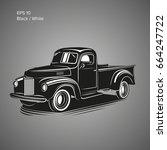 old retro pickup truck vector...   Shutterstock .eps vector #664247722