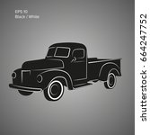Old Retro Pickup Truck Vector...