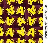 letters  pattern. background... | Shutterstock .eps vector #664254235
