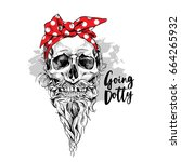skull with beard and mustache... | Shutterstock .eps vector #664265932
