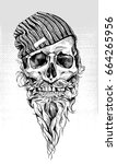 skull with beard and mustache... | Shutterstock .eps vector #664265956