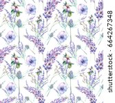 watercolor lavender and garden... | Shutterstock . vector #664267348