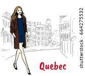 woman walking on st jean street ... | Shutterstock . vector #664275532