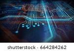 orange and blue technology... | Shutterstock . vector #664284262