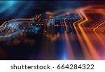 orange and blue technology... | Shutterstock . vector #664284322