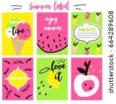 summer labels set   Shutterstock .eps vector #664289608