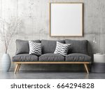 poster with retro sofa ... | Shutterstock . vector #664294828