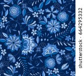 embroidery seamless pattern... | Shutterstock .eps vector #664295332