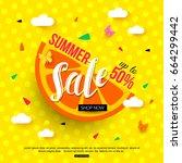 sale banner with juicy slice of ... | Shutterstock .eps vector #664299442