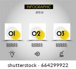 three infographic squares with... | Shutterstock .eps vector #664299922