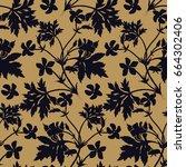 seamless floral pattern. black... | Shutterstock .eps vector #664302406