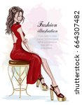 beautiful fashion woman in red... | Shutterstock .eps vector #664307482
