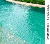 beautiful luxury swimming pool... | Shutterstock . vector #664326832