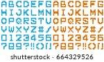 font of pixel art  blue and... | Shutterstock . vector #664329526