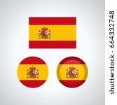 flag design. spanish flag set.... | Shutterstock .eps vector #664332748