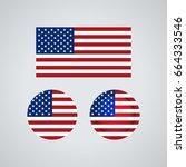 flag design. american flag set. ... | Shutterstock .eps vector #664333546