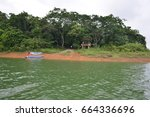 island and forest on reservoir | Shutterstock . vector #664336696