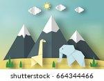 paper origami concept  applique ... | Shutterstock .eps vector #664344466