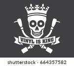 vinyl record dj vector logo... | Shutterstock .eps vector #664357582