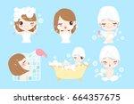 cartoon woman taking  bath on... | Shutterstock .eps vector #664357675