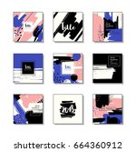 set of artistic colorful... | Shutterstock .eps vector #664360912