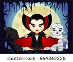 halloween with vampire and... | Shutterstock .eps vector #664362328