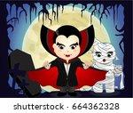halloween with vampire and... | Shutterstock .eps vector #664362328