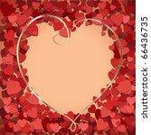 red heart frame with golden... | Shutterstock .eps vector #66436735