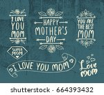 mother's day lettering set for... | Shutterstock .eps vector #664393432