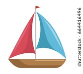 isolated sailboat icon | Shutterstock .eps vector #664416496