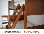 wooden high quality loft bed or ... | Shutterstock . vector #664427092