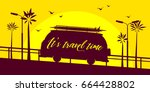 mini bus silhouette with... | Shutterstock .eps vector #664428802