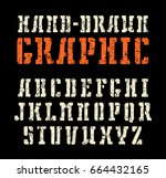 stencil plate slab serif font...   Shutterstock .eps vector #664432165