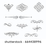 vector set of swirling... | Shutterstock .eps vector #664438996
