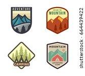 set of outdoor adventure badge... | Shutterstock .eps vector #664439422
