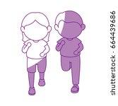 girl and boy running | Shutterstock .eps vector #664439686