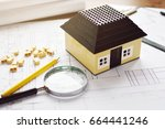 layout of the house in the... | Shutterstock . vector #664441246