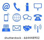 blue contact icons   stock... | Shutterstock .eps vector #664448902