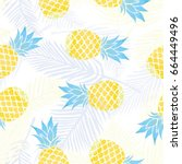 pineapple pattern  vector ... | Shutterstock .eps vector #664449496
