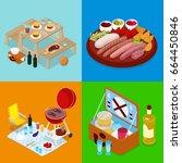isometric bbq picnic food.... | Shutterstock .eps vector #664450846