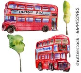 watercolor london illustration. ... | Shutterstock . vector #664452982