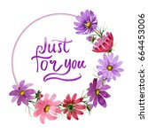 wildflower kosmeya flower frame ... | Shutterstock . vector #664453006