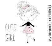 hand drawn cute little girl ... | Shutterstock .eps vector #664455655