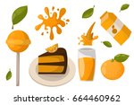 ripe orange products fruits... | Shutterstock .eps vector #664460962
