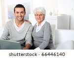 elderly woman with young man... | Shutterstock . vector #66446140